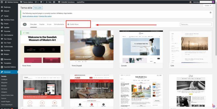 Wordpress Tema Yükleme Detayları