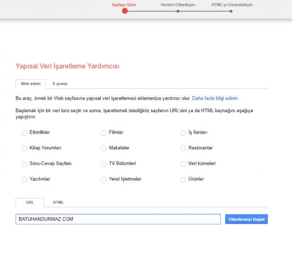 Google yapısal veri yardımcısı